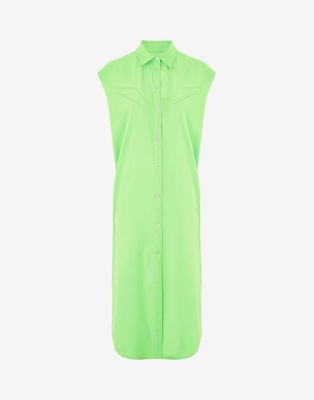 MM6 Maison Margiela Western Sleeveless Shirt Dress - Neon Green