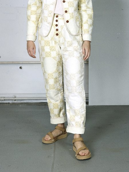 Marvin Ruby Checkered Snowball Quilted Pant - lemon/white