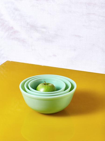 Mosser Glass Jadeite Milk Glass Mixing Bowl Set of 3