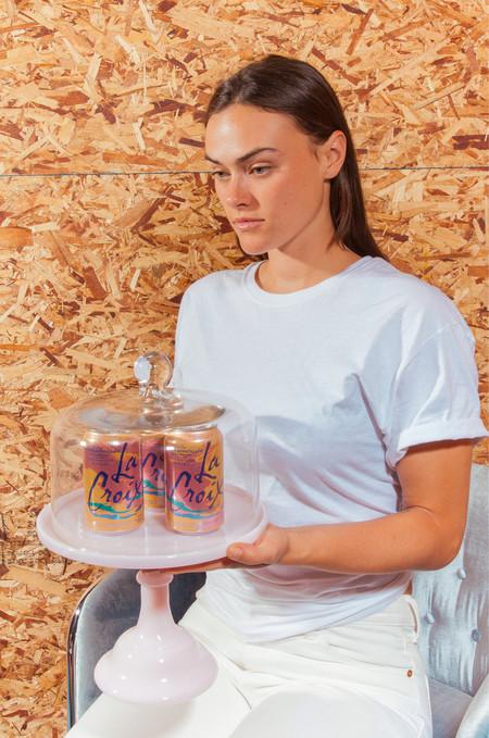 Mosser Glass Glass Cake Stand - Pink Milk