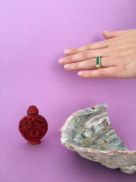 Legier Small Malachite Signet Ring - Brass