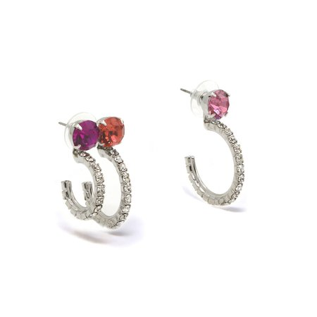 Joomi Lim Crystal Earrings w/ Asymmetrical Crystal Hoops