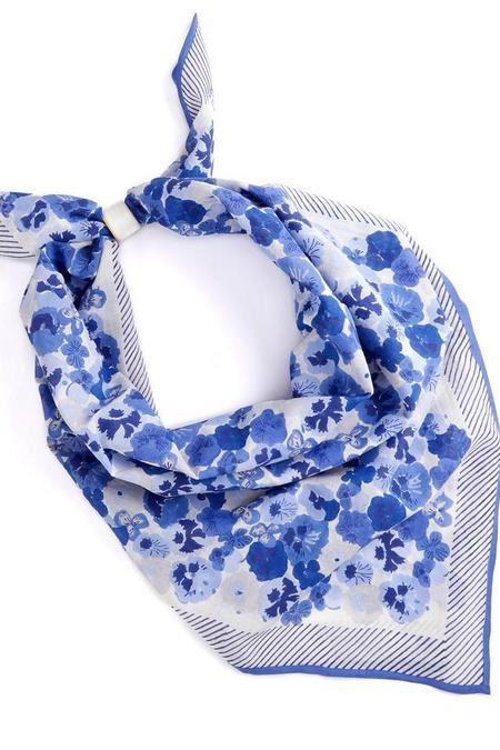 Block Shop Textiles Pansies Scarf - Lapis
