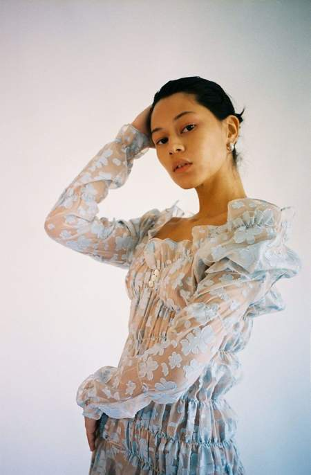 Yuhan Wang Ruched Jacquard Chiffon Dress - BLUE