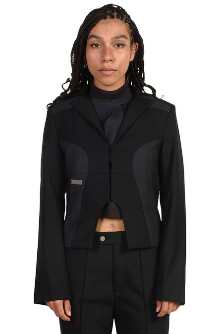 C2H4 Arc Cutting Splicing Layered Tailored Jacket - black