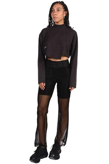 C2H4 Asymmetrical Turtleneck Sweater - black