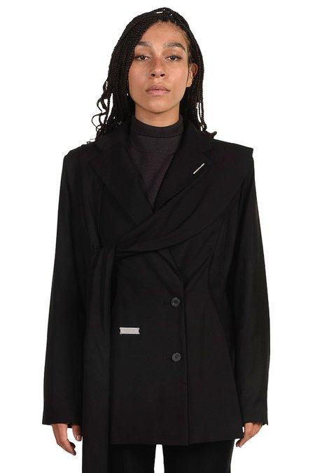 C2H4 Layered Arc Cutting Tailored Jacket - BLACK