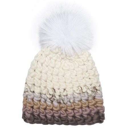 Mischa Lampert white xl pom color block arctic beanie - pale