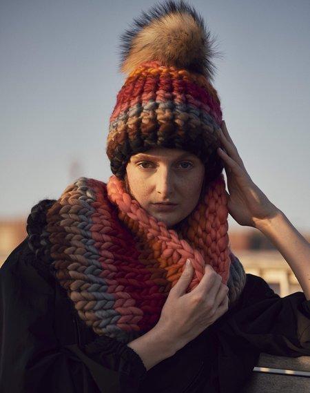 Mischa Lampert XL pom sunset beanie - Stripe/Blush