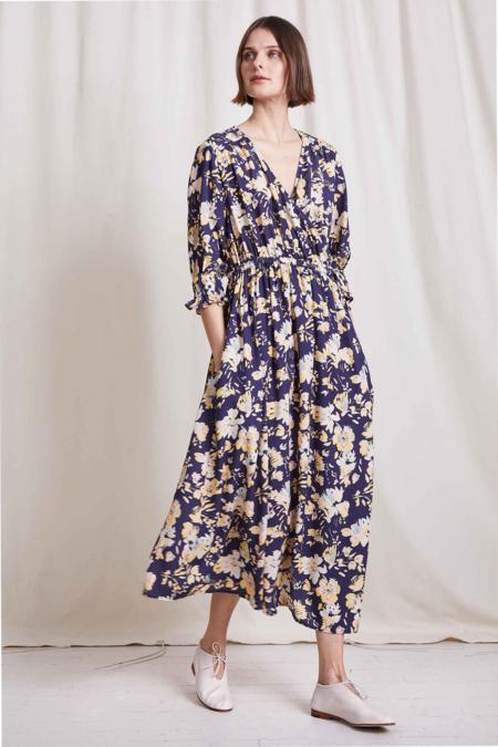 Apiece Apart Lucinda Wrap Dress - Painterly Floral Navy