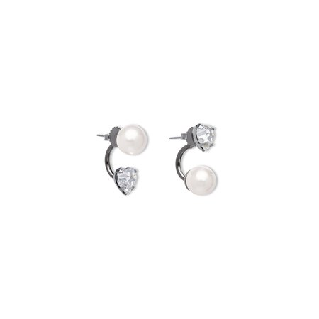 Joomi Lim Asymmetrical Floating Crystal Heart and Pearl Earrings