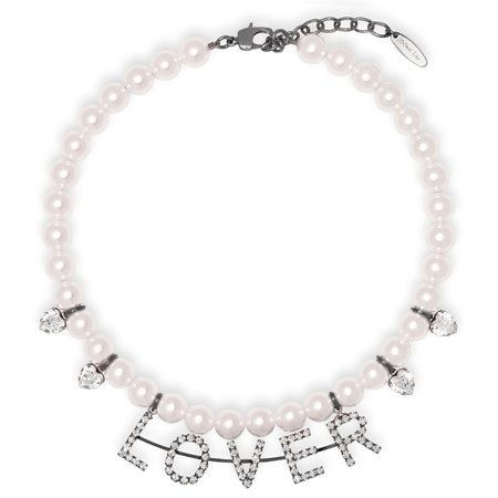 Joomi Lim Pearl & Crystal Lover Necklace W/ Crystal Heart Charms