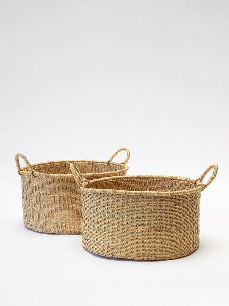 Swahili Modern Medium Elephant Grass Floor Basket