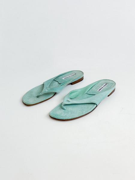 Vintage Manolo Blahnik Suede Thongs shoes - Aqua
