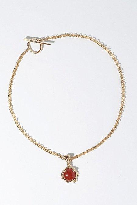 FARIS Lava Amulet necklace  - Bronze and carnelian