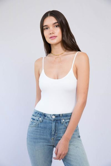 ATM Anthony Thomas Melillo ATM White Modal Rib Cami Bodysuit