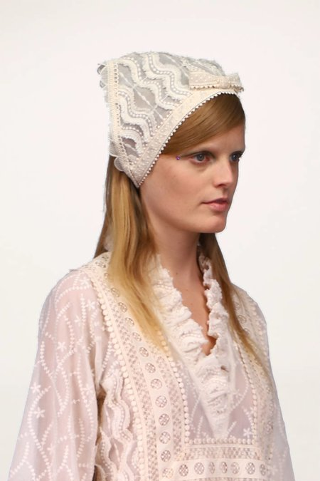 Anna Sui Botanical Lace Bow Headscarf - Ivory