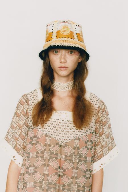 Anna Sui Recycled Crochet Hat - Mango Multi