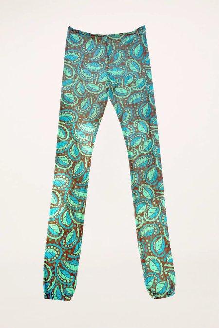 Anna Sui Swirling Leaves Leggings - TURQUOISE MULTI