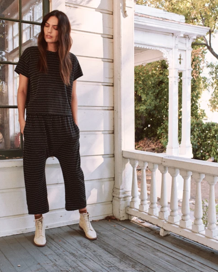 The Great. The Swiss Dot Crop Tee - Almost Black