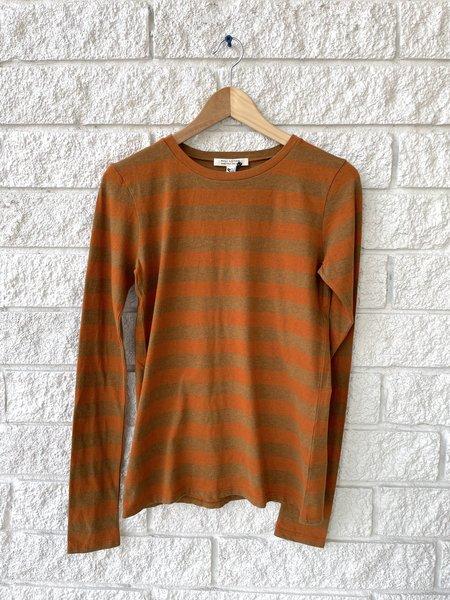 Nili Lotan LONG SLEEVE SHIRT - khaki and orange stripe