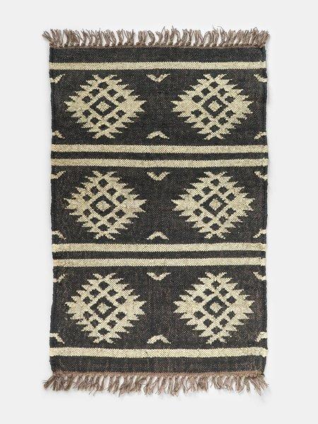 vimla jaipur kanta diamond wool + jute rug - black