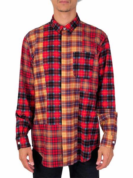 Engineered Garments COMBO SHORT COLLAR SHIRT - Red/Blue