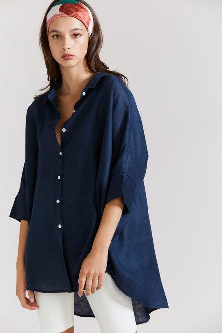Laing Home Popover Linen Shirt - Navy