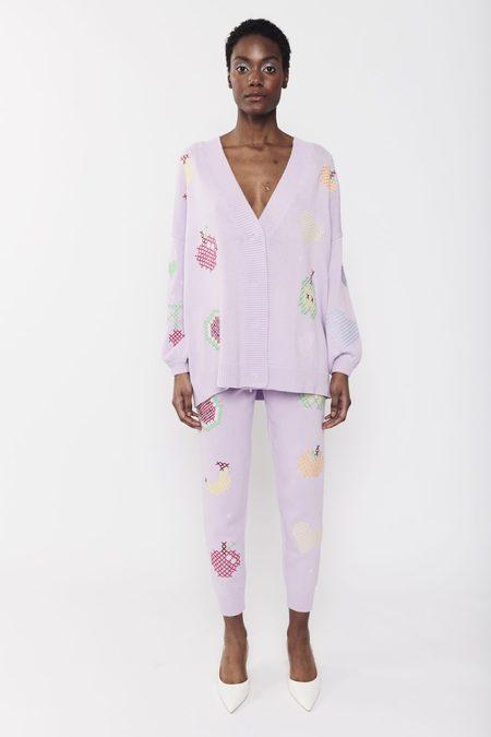 Olivia Rubin Flora Fruit Cross Stitch Cardigan - Lilac