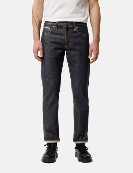 Nudie Jeans Gritty Jackson Regular Fit Jeans - Dry Maze Selvage Indigo Blue