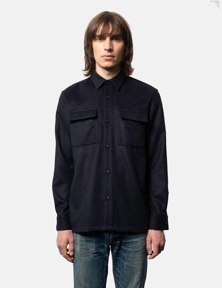 Nudie Jeans Sten Wool Solid Shirt - Navy Blue