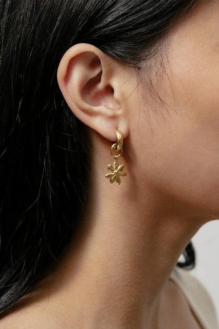 Wolf Circus FLOWER CHARM HOOPS Earrings - Gold