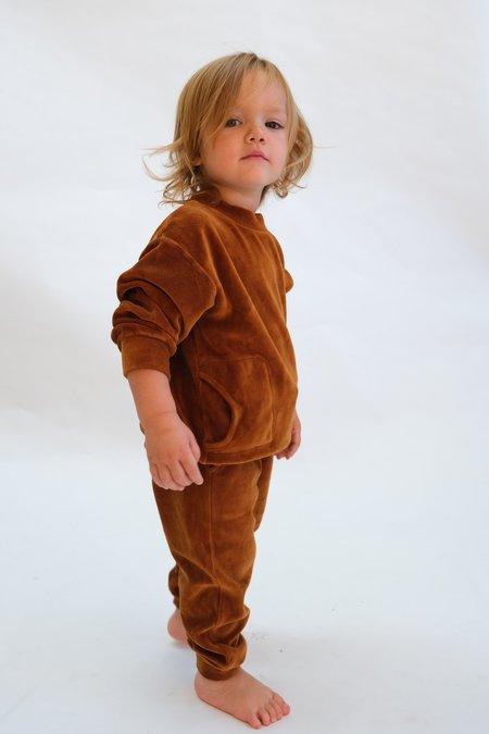 Kids My Little Cozmo Organic Velour Pants - Caramel