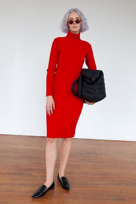 Turtleneck Ribbed Dress in Red by Delfina Balda