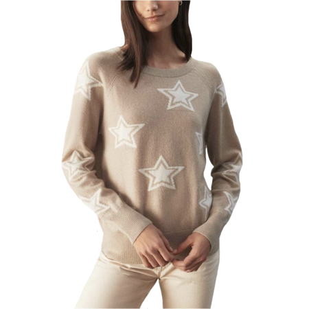 White+Warren Star Intarsia Crew Neck - Jute/Pearl White