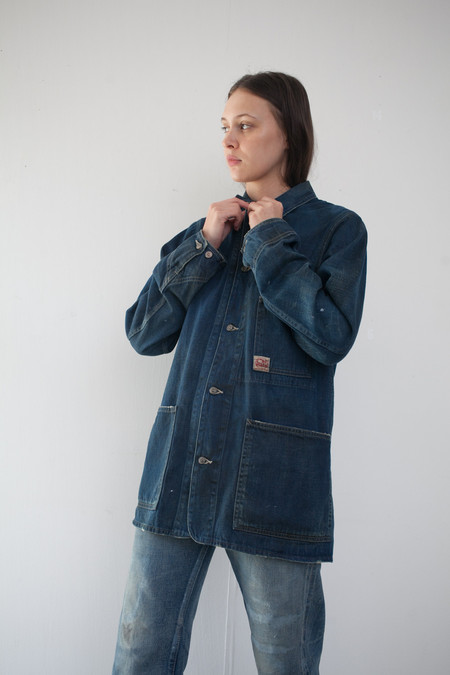 Unisex Chimala Denim Work Chore Jacket in Dark Vintage