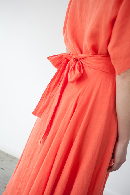 Black Crane Wrap Skirt in Paprika