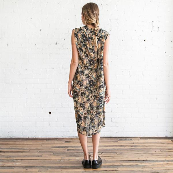 Gary Graham Shoulder Drape Dress Embroidery