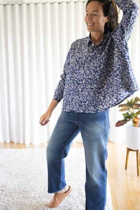 ICHI ANTIQUITES Linen Floral Pattern Shirt - Blue