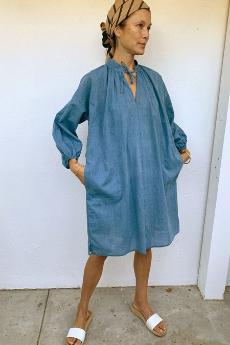 Two New York Chambray Tie Dress - Blue
