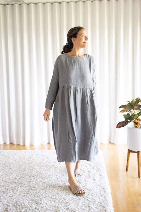 Ichi Antiquités Linen Dobby Azumadaki Dress - Natural Gray