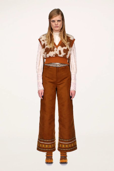 Anna Sui Faux Suede Pants - AMBER MULTI