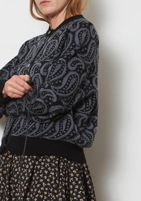 YMC Atomic Merino Wool Paisley Cardigan - Gray