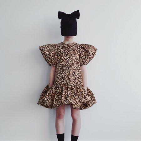 Kids caroline bosmans puff sleeve dress - leopard