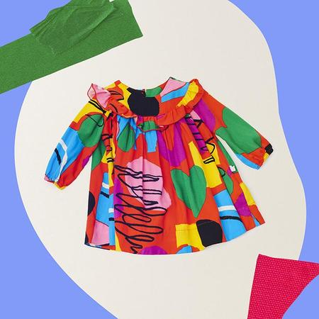 Kids Stella McCartney Dress With All Over Abstract Painting Print - Red