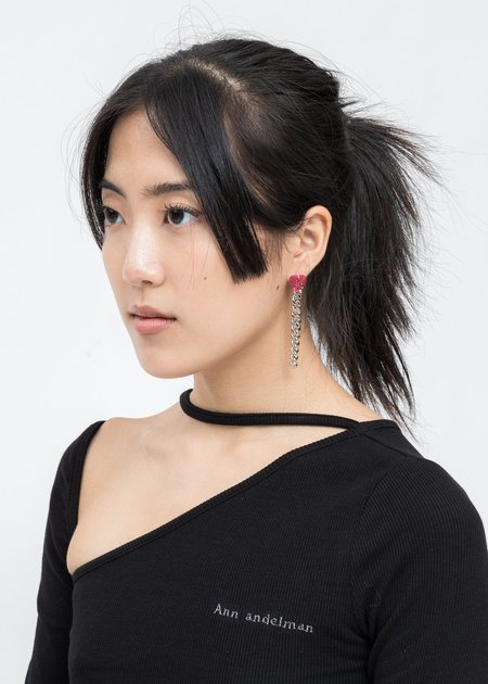 DEPARTMENT Chain And Pink Heart Single Earring - Silver