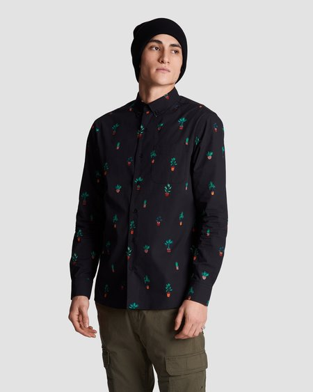 Poplin & Co. Casual Button Down Long Sleeve Shirt - Potted Plants Print