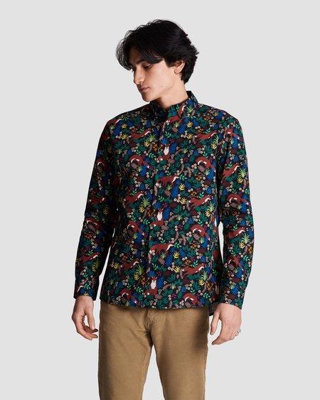 Poplin & Co. Casual Button Down Long Sleeve Shirt - Forest Fox Print