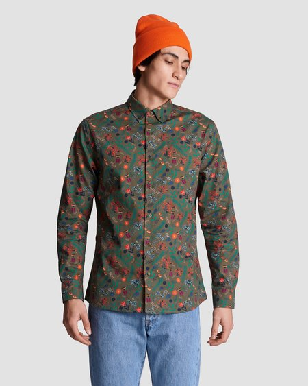 Poplin & Co. Casual Button Down Long Sleeve Shirt - Floral Meadow Print