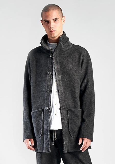 Syngman Cucala Overdyed Textured Cotton Funnel Neck Jacket - Black